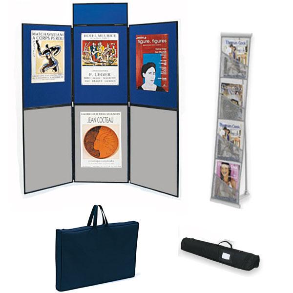 Utilisation pour votre communication et vos expositions. Affichage double-face Composé du stand de 6 panneaux 90 x 60 cm