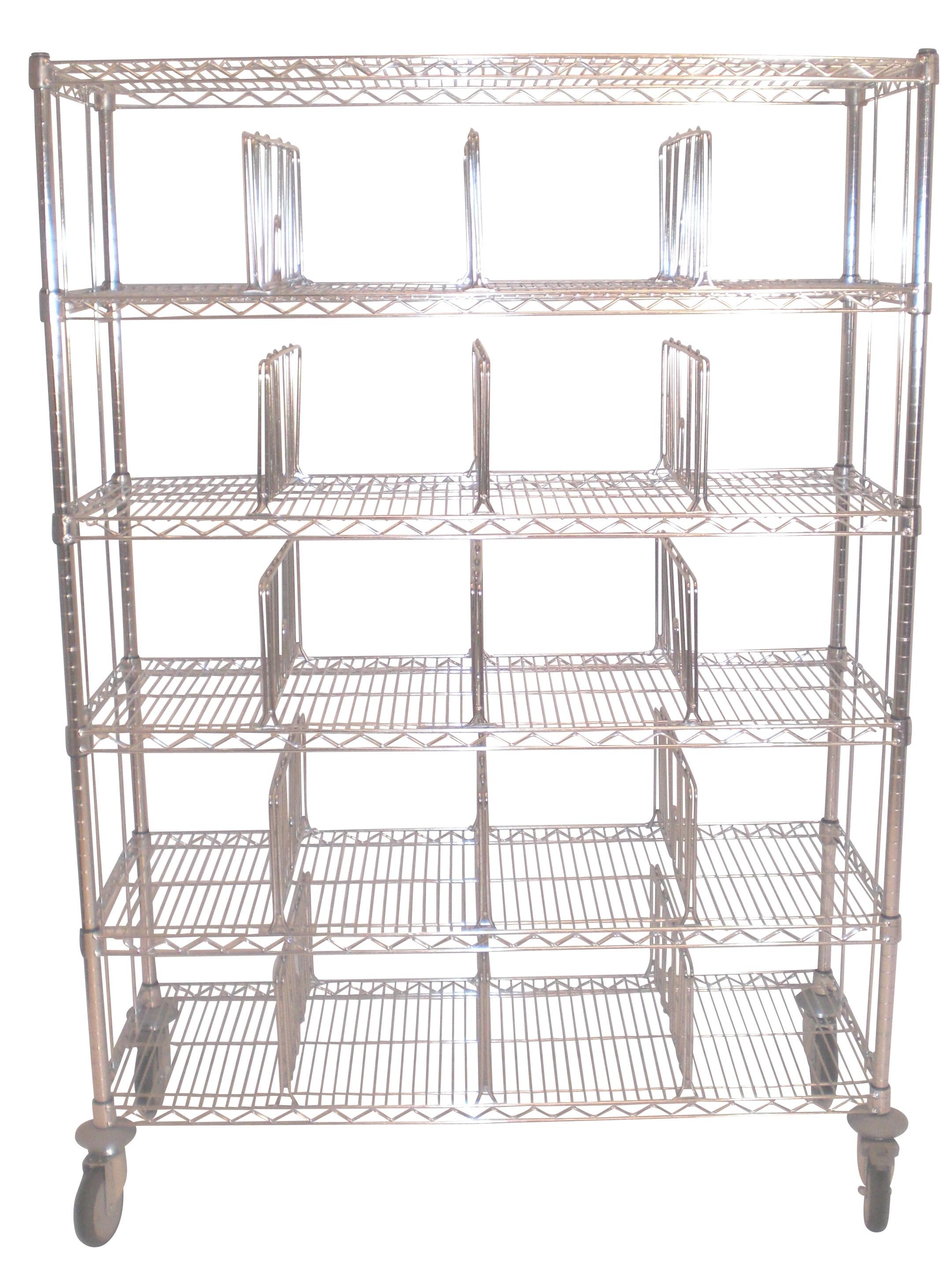 CHARIOT CASIER de base:   - 2 ou 3 côtés en fil chromé   - Séparation amovible ou fixe (au choix)   - Dimensions d