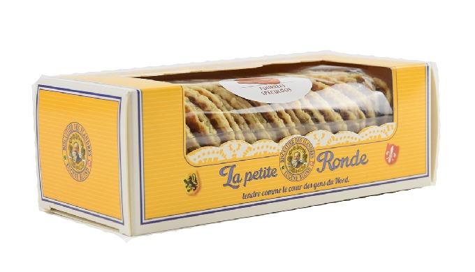 Descriptif Boîte de gaufres fines salées pur beurre. Ingrédients Fondant (sirop de glucose, sucre, eau), farine de frome