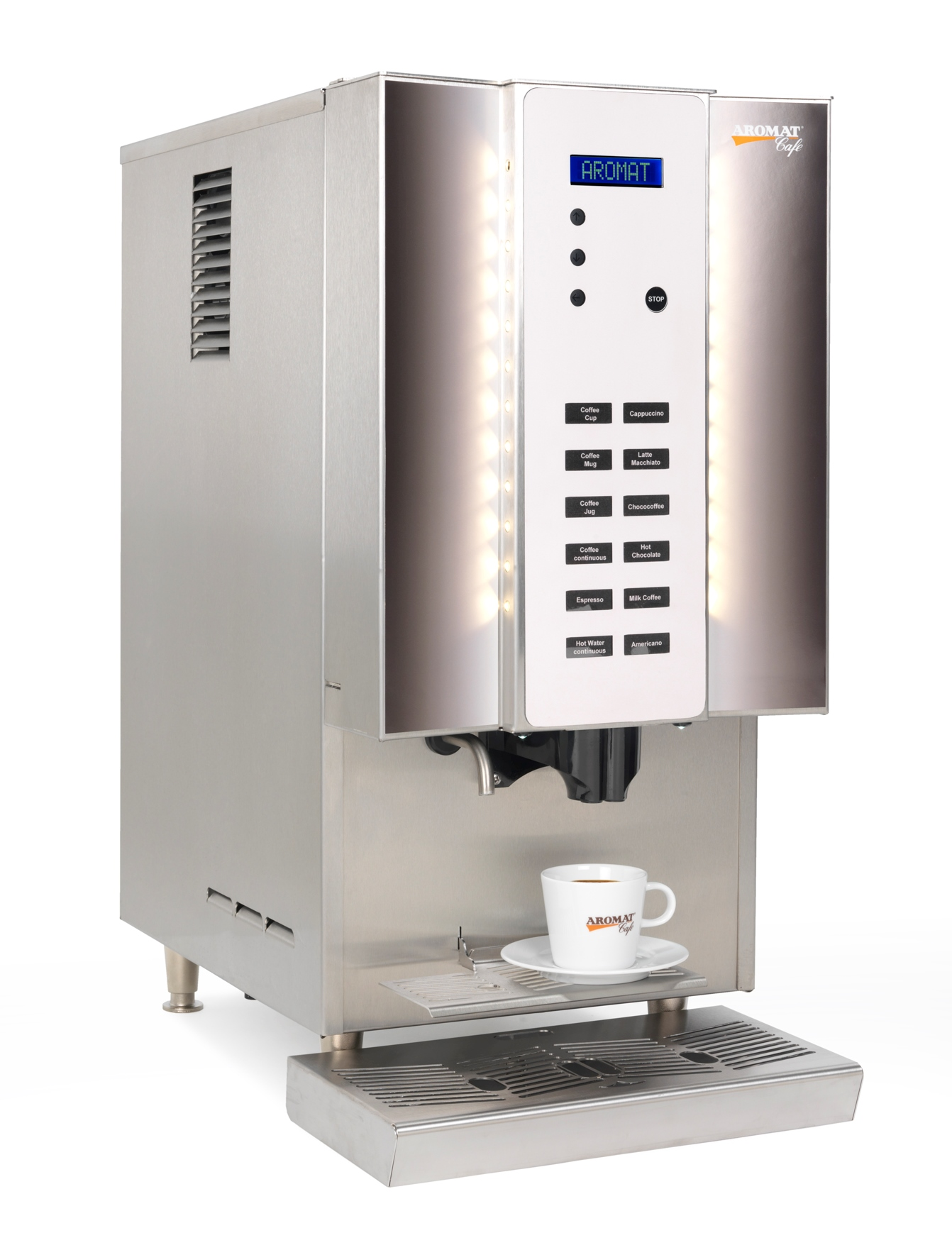 The AROMAT FK coffee machines are commercial coffee machines for use of the AROMAT liquid coffee concentrates. They are