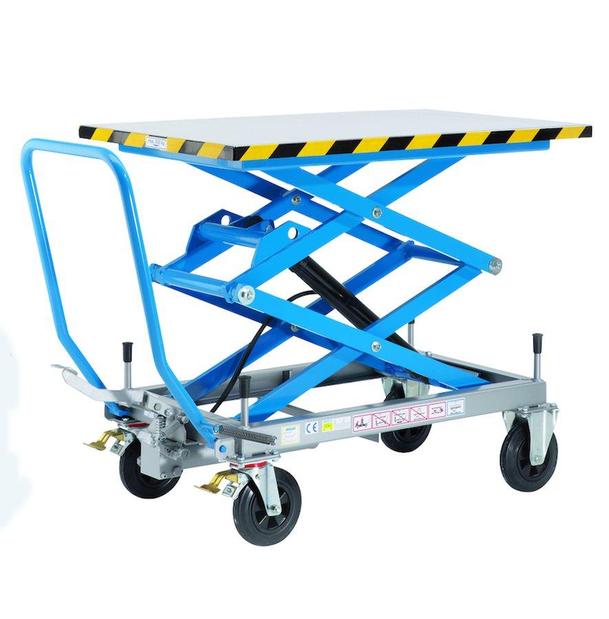 Tragfähigkeit 500 kg, Hubbereich 510 – 1800 mmHeben mit Pedal. Feinfühliges, stufenloses Absenken mit Pedal und Dreh-Sen