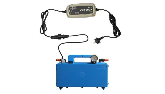 Composé d'une valisette pompe surpresseur 12 V, 5L/mn, 2 postes, d'un convertisseur 220V / 12V qui se branche sur le sec