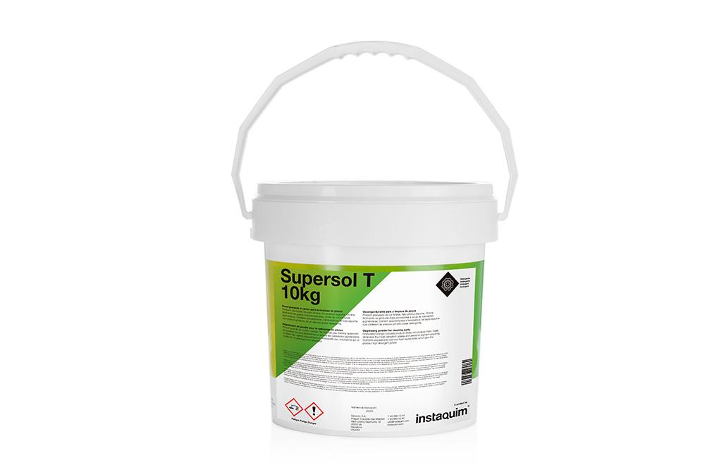 Supersol T, desengrasante en polvo para la limpieza de piezas.